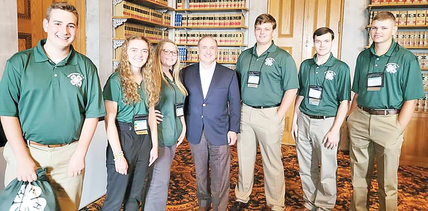 Congress delegates met with Senator Paul Bailey and learned more about his role as a state senator. Pictured from left, Bailey Steger, Britta Gaetjens, Gracey Hurst, Senator Bailey, Peyton Archer, Grant Mainord and Carter Randolph.