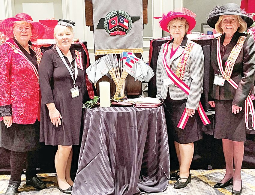 Members of Capt. Sally Tompkins 2123, United Daughters of the Confederacy attended the Tennessee Division Convention in Franklin, Tennessee Oct. 2.  From left are Barbara Parsons, Theresa Loftis, Donna Hamilton and Matilda Speck.
