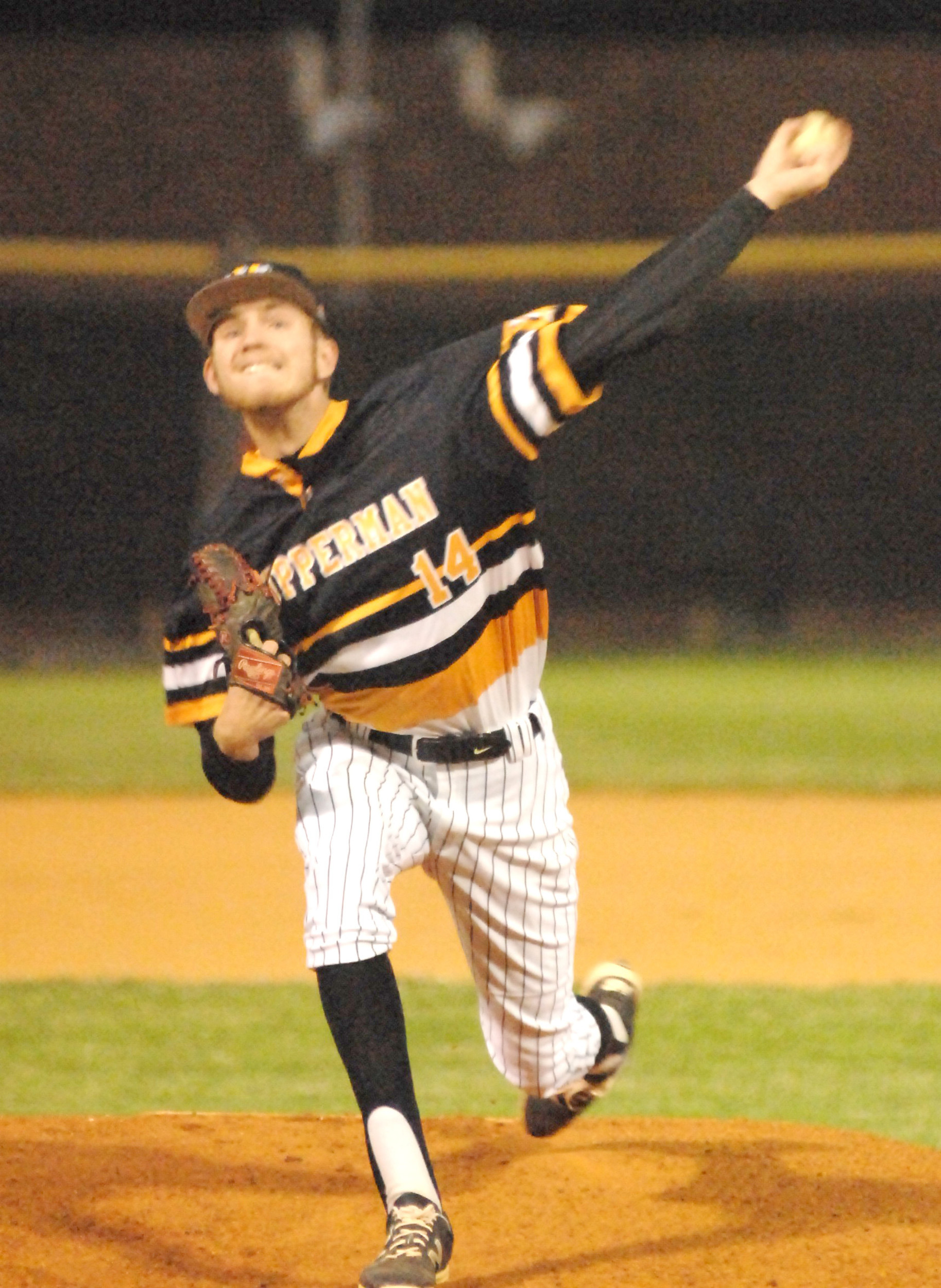 Upperman's Josh Endicott throws to the plate during the Bees' 4-2 win...