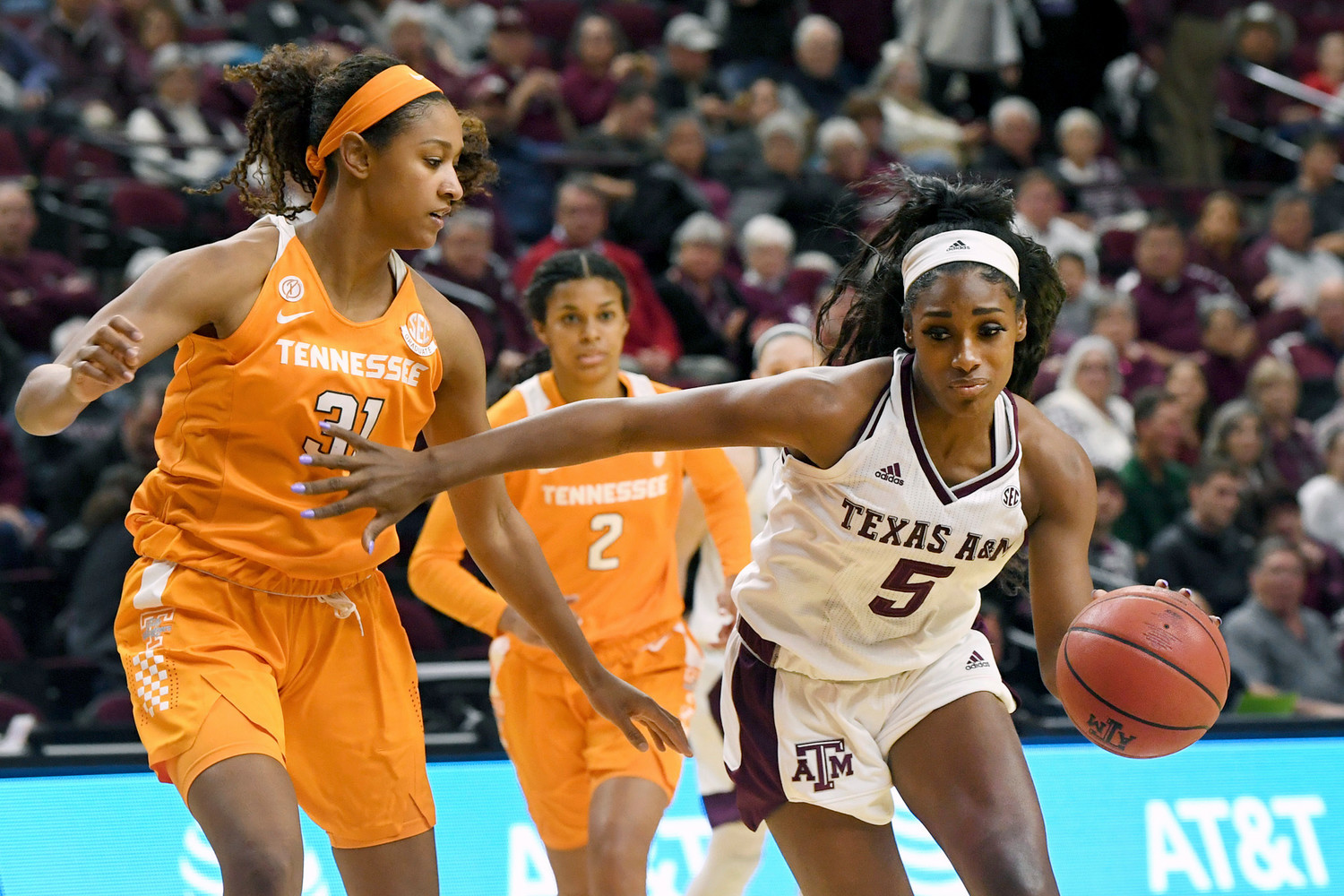 Texas A&M's Anriel Howard dribbles past Tennessee's Jaime Nared in the first quarter of an NCAA college basketball game Thursday Jan. 11 2018 in College Station Texas