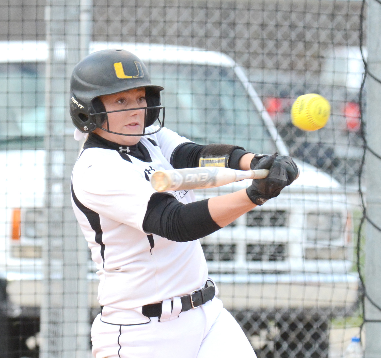 Samantha Greenwood powers the ball during the Upperman girls victory over Livingston Academy