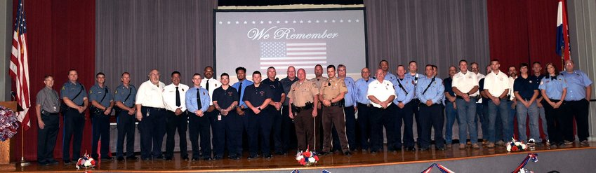 These Randolph County first responders were recognized for their community service at Moberly's 2021 Patriot Day Tribute held Saturday, Sept. 11 at the Municipal Auditorium. In addition to paying tribute to the county's emergency responders, the dinner event also reminded attendees of the 9/11/11 terrorists attacks in the U.S. ,and paid tribute to those directly involved in those tragic incidents.