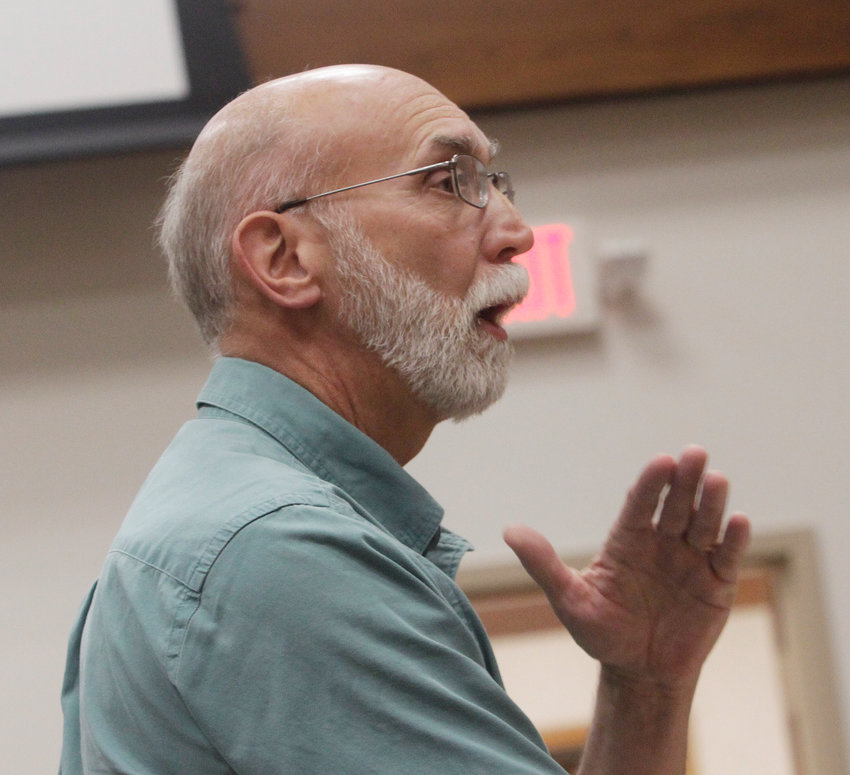 George Benner expresses his opinion before the Moberly city council at its Sept. 20 business meeting and reasons why he is against a proposal to allow for a home in the Glenwood Ave. neighborhood to become a commercial Airbnb-like housing rental.