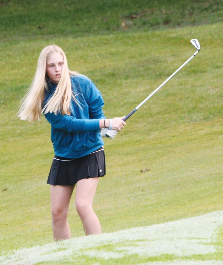 Westran's Vallie Schermerhorn, shown playing in a match last fall, placed 28th with a 127 at Monday's Class 1, District 3 Tournament held at LA Nickell Golf Course in Columbia.