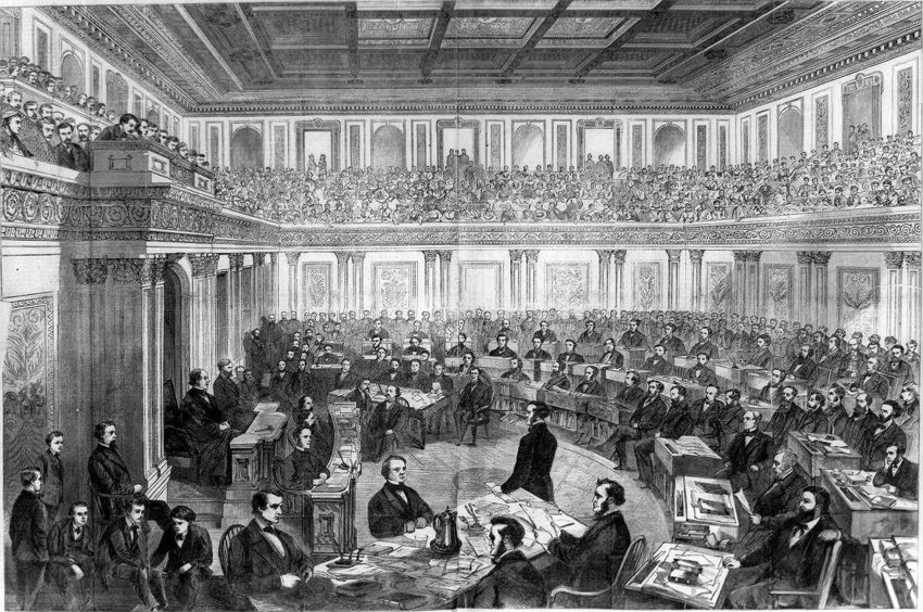 This period illustration shows the packed galleries of the U.S. Senate during the 1868 impeachment trial of President Andrew Johnson. He was the first president impeached by the House of Representatives, but the Senate did not convict him.