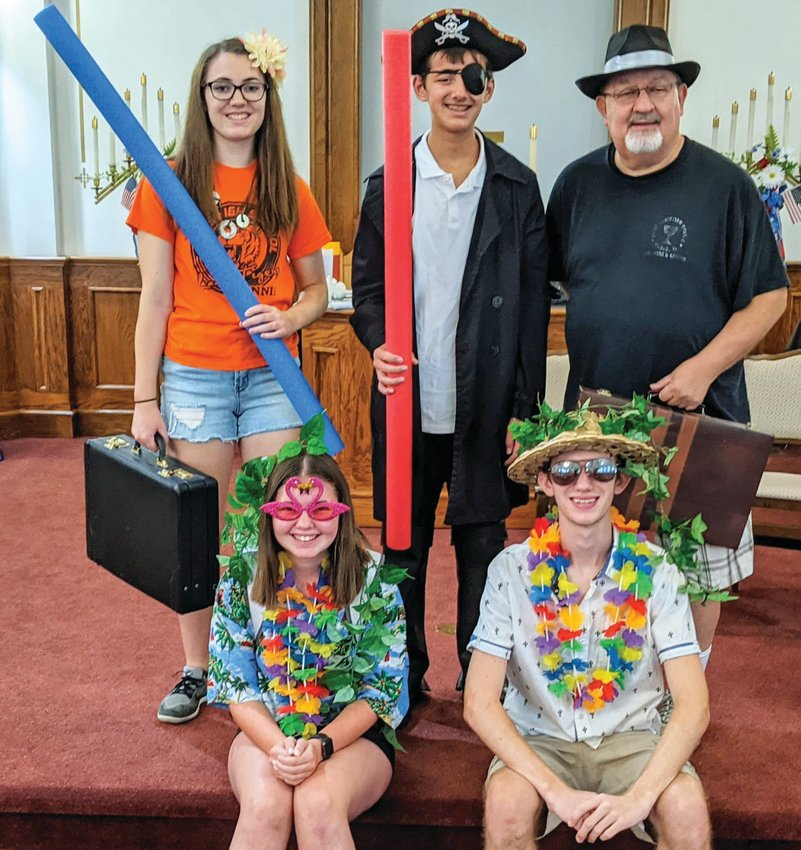 First Christian Church (Disciples of Christ) is offering a Mystery Island themed Vacation Bible School 9 - 11:45 a.m. Aug. 2-6 at the church, 201 South Main, Paris. The VBS is for children between four years old and the fifth grade. More information is available by calling 217-466-3255. Front, left to right, Abby Sanders and Ethan Vice. Back, left to right, Lily Smittkamp, Graham Templeton and Mike Dixon.